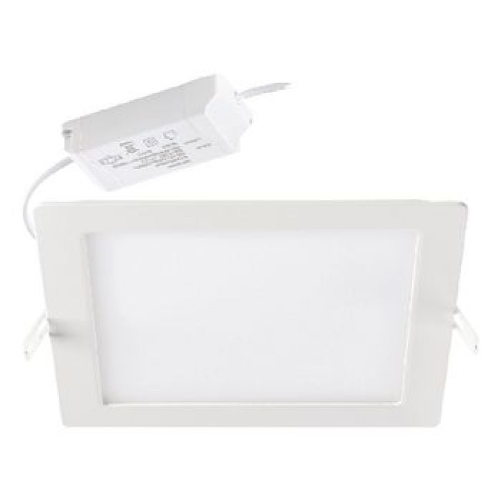 Integrated LED recessed downlight providing 1150 fixture lumens at a wattage of 18W giving a high efficacy of 64lm/W. Fitting includes Leading/Trailing edge phase dimmable driver and has a square ceiling cut out of 206x206mm with an IP20 and IK02 rating p