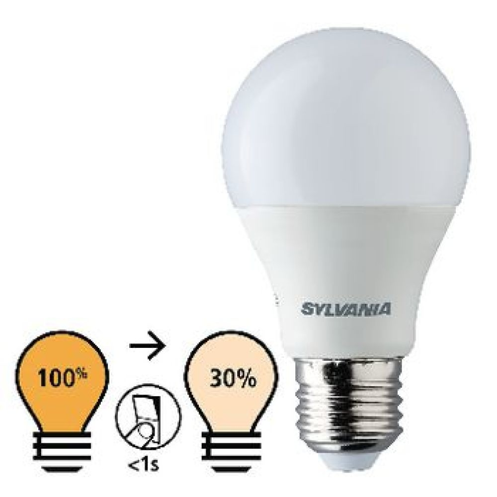 • ToLEDo™ Step-Dim GLS A60 can be controlled with standard switches – wall, cable or foot switches <br /> • Smart and cost effective preset dimming solution <br /> • Two different brightness settings: – Full 100% brightness (default setting) – Press the on/off switch