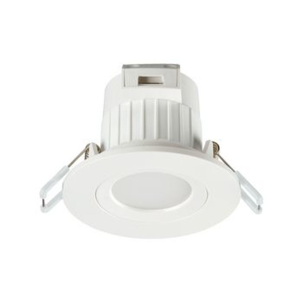 Integrated dimmable LED IP65 fixed downlight, RAL9016, 580LM, 7W, 4000K, 100 degree beam angle, polycarbonate white body, low profile 41mm recessed depth, 86mm bezel diameter, 65-74mm cutout, frosted lens.