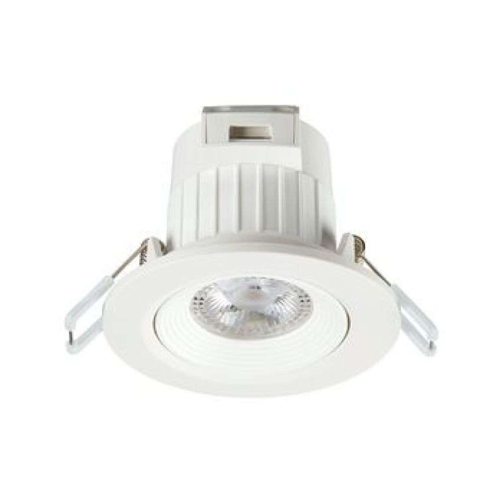 Integrated LED IP20 adjustable downlight, 400LM, 5.5W, 3000K, 30 degree tilt, 35 degree beam angle, polycarbonate white body, low profile 58mm recessed depth, 86mm bezel diameter, 68-74mm cutout, clear lens.