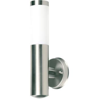 Muurlamp met melkglas en IP44 resistance.