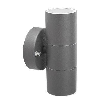 Smartwares GWL-176-HG Buiten wandlamp – Hoogwaardig RVS – Antraciet – 2-lichts <br /> Zorg voor meer verlichting en een moderne uitstraling in je tuin of gevel met de Smartwares GWL-176-HG Buiten wandlamp. De waterbestendige buitenlamp heeft een IP44 beschermin