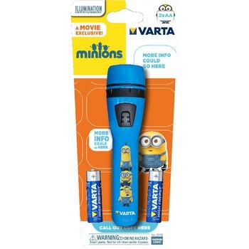 Minions flashlight associated with an extremely popular license theme. Robust casing made of durable ABS plastic<br /> 1x 5mm LED with magnifying lens provides an improved light beam. Available in two colours: 3 x blue and 3 x yellow in a box.