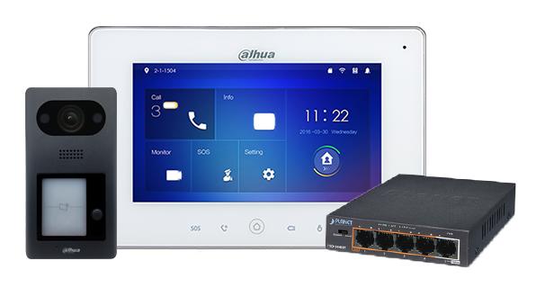 Dieses komplette Dahua-Intercom-System ist dank der Power-over-Ethernet-Funktion vollständig IP-basiert und Plug-and-Play-fähig. Zu sehen in unserem Showroom in Gorinchem. Mit 2-Tasten-Außengerät, Innengerät und POE-Schalter.