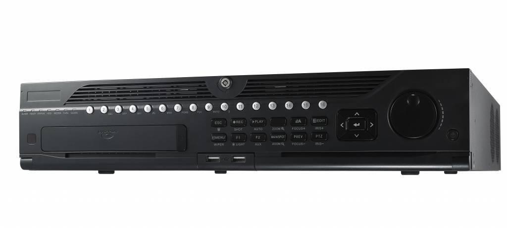 """O Gravador de Vídeo em Rede Hikvision DS-9632NI-I8 (32 câmeras) 8x SATA, 2x LANs, um NVR de 2 """"e 32"""" de 32 canais. Você gerencia e grava câmeras IP localmente com este NVR."""