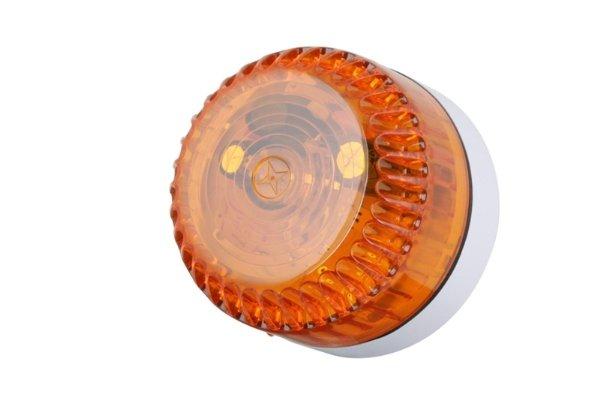 Professionele flitser, laag model. Oranje flitslicht. Voor binnen- en buitentoepassing geschikt, robuuste flitser, Voeding 9-60Vdc.<br /> 75 flitsen per minuut