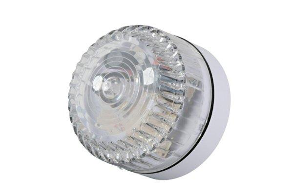 Professionele flitser, laag model. Wit flitslicht. Voor binnen- en buitentoepassing geschikt, robuuste flitser, Voeding 9-60Vdc.<br /> 75 flitsen per minuut