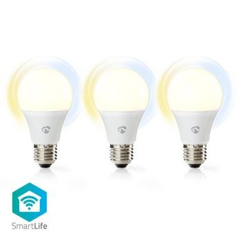 Wi-Fi smart LED-lampen | Warm- tot Koud-Wit | E27 | 3-Pack