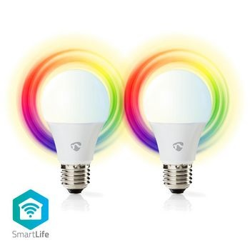 Wi-Fi smart LED-lampen | Full-Colour en Warm-Wit | E27 | 2-Pack