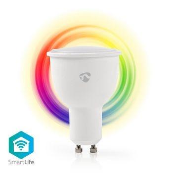 Met deze Wireless Smart Bulb (met GU10 tweepens-fitting) van Nedis®, die deel uitmaakt van het steeds groeiende SmartLife-assortiment kunt u op afstand de kleur en helderheid bedienen met uw telefoon, tablet, pc of stem (met behulp van Amazon Alexa of Goo