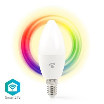 Met deze Full Colour Wireless Smart Bulb (met E14 schroeffitting) van Nedis®, die deel uitmaakt van het steeds groeiende SmartLife-assortiment, kunt u de kleur en helderheid op afstand bedienen met uw telefoon, tablet of stem (met behulp van Amazon Alexa