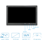 "TFT 10 ""Full HD monitor incl. Wall mounting bracket"