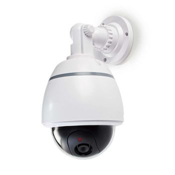 This outdoor dummy camera provides burglary prevention at a fraction of the cost of a real camera. The professional design has a built-in, flashing LED. This makes it almost impossible to distinguish the dummy camera from the real thing. The dummy camera