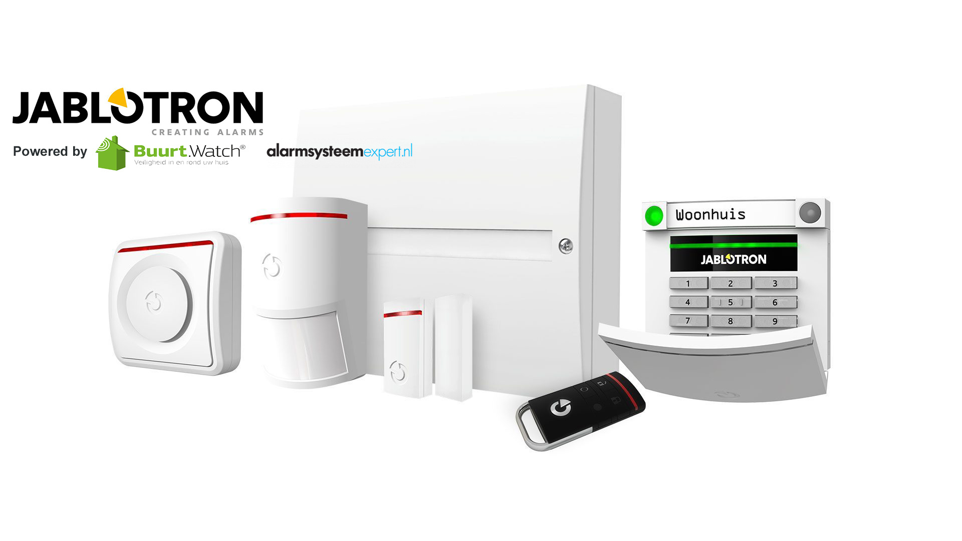 Extensive basic kit for easy security. This kit consists of: 1 x JA-101KR-LAN / GSM control panel 1 x JA-150P motion detector 1 x JA-151M mini magnetic contact 1 x JA-110A indoor siren 1 x JA-153E code control panel 1 x JA-154J MS remote control 1 x batte