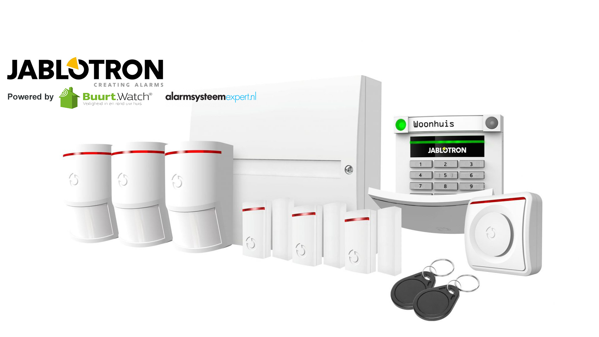 Very comprehensive basic kit for complete security. This kit consists of: 1 x JA-101KR-LAN / GSM center 3 x JA-150P motion detector 3 x JA-151M mini magnetic contact 1 x JA-110A indoor siren 1 x JA-113E code control panel 2 x PC-02B RFID tag 1 x battery s