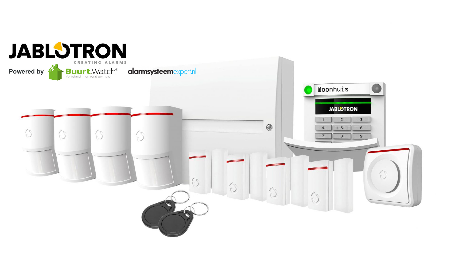Very comprehensive basic kit for complete security. This kit consists of: 1 x JA-101KR-LAN / GSM center 4 x JA-150P motion detector 4 x JA-151M mini magnetic contact 1 x JA-110A indoor siren 1 x JA-113E code control panel 2 x PC-02B RFID tag 1 x battery s