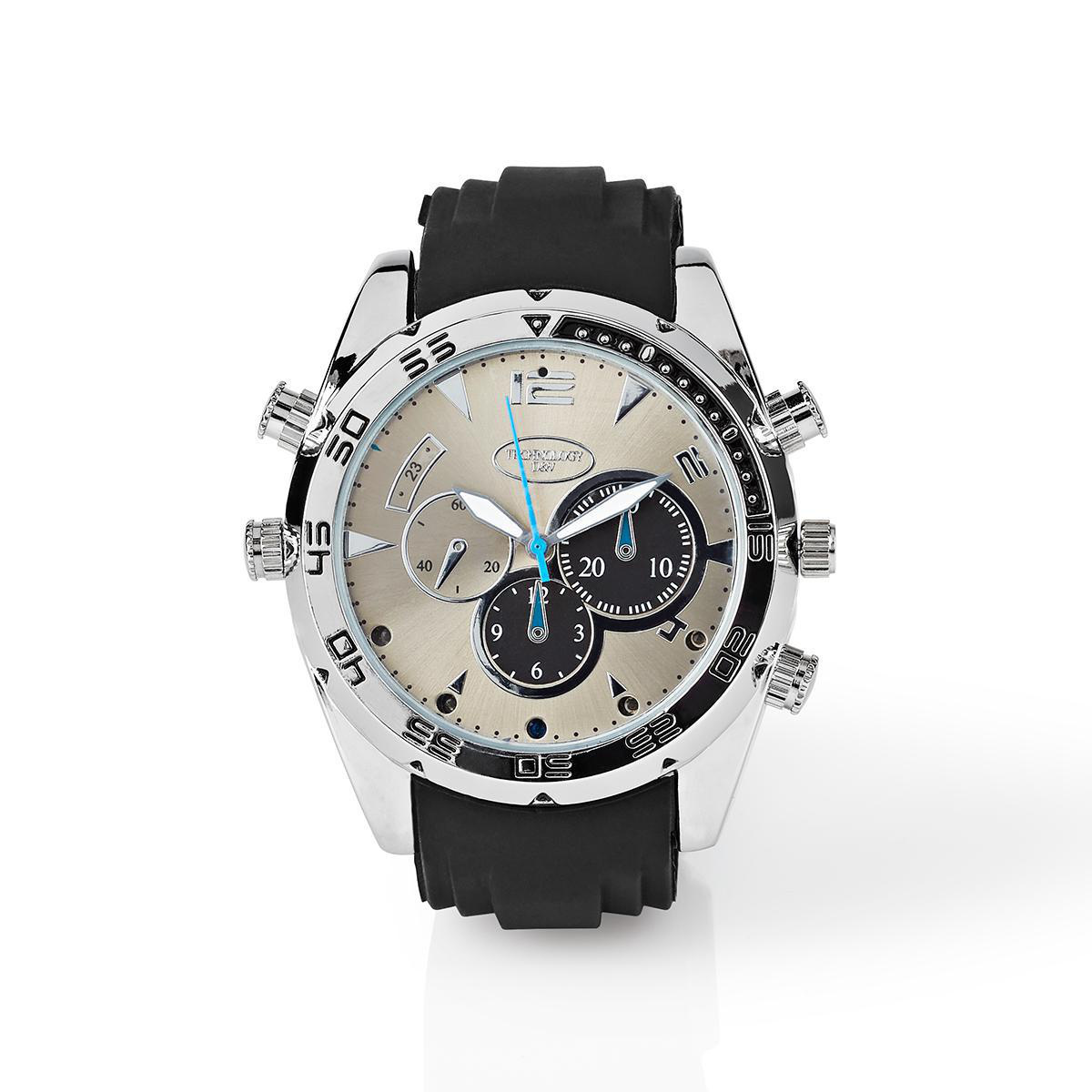 Wrist watch with integrated camera | 1920x1080 video | 2560x1440 photo | 16 GB memory | Rechargeable Take high resolution videos or photos, without anyone noticing. This watch with hidden camera is water resistant and equipped with night vision. This allo