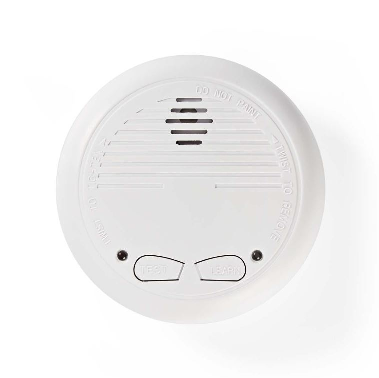 The smoke detector increases home safety. Has a learning button that wirelessly connects to an unlimited number of DTCTSC10WT and DTCTSC10WT2 smoke detectors. When a device detects smoke, it sends a signal via radio frequency that also activates the other