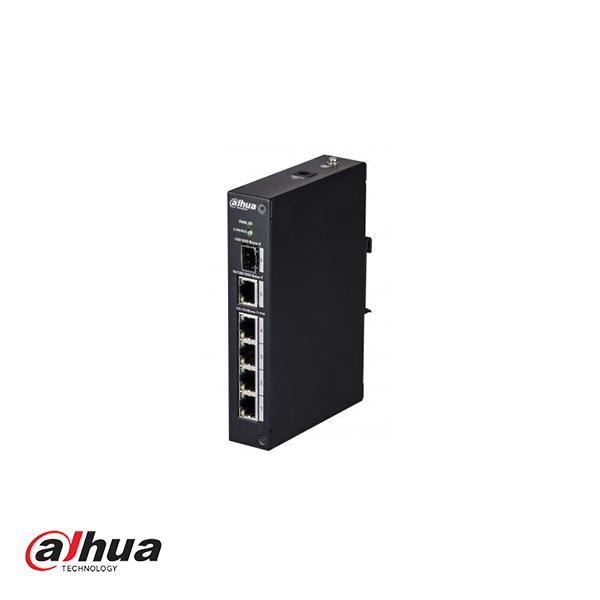 DH-PFS3106-4P-60 è uno switch PoE con 5 porte di cui 4 porte PoE in grado di fornire 15,4 W o 30 W (per porta) e un massimo di 60 watt. L'ingresso dello switch PoE è 1000Mbit e le uscite sono 100Mbit. Quindi, in pratica, puoi connetterti come esempio (olt