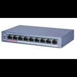 ASE ASE0109P-E/M, 8 PoE/PoE+ poorten, 250meter PoE bereik (8x PoE, 1x Uplink)