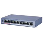 ASE ASE0109P-E/M, 9 poorts switch (8 PoE/PoE+, 1 Uplink), 250meter PoE bereik