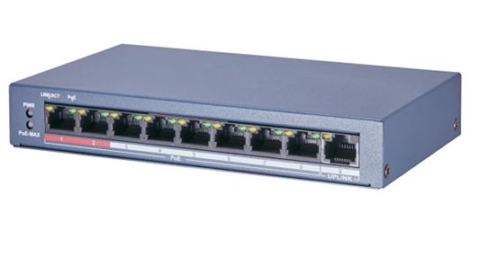ASE0109P-E / M, 9-Port-Switch (8 PoE / PoE +, 1 Uplink), 250 Meter PoE-Reichweite