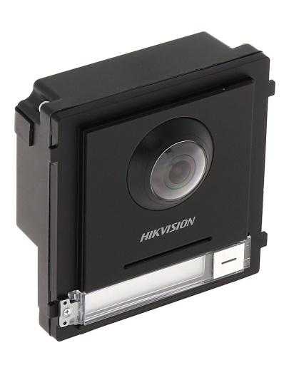 Das DS-KD-KK-Kameramodul der modularen Gegensprechanlage von Hikvision sorgt dafür, dass alles perfekt im Blick ist. Dank der 2MP-Kamera mit WDR ist die Hintergrundbeleuchtung für diese Kamera kein Problem. Dank des Öffnungswinkels von 180 ° gibt es einen