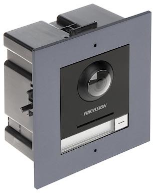 O módulo de câmera DS-KD8003-IME1 / FLUSH do intercomunicador modular Hikvision garante que tudo esteja perfeitamente à vista. Graças à câmera de 2 MP com WDR, a luz de fundo não é problema para esta câmera. Graças ao ângulo de abertura de 180 °, é possív