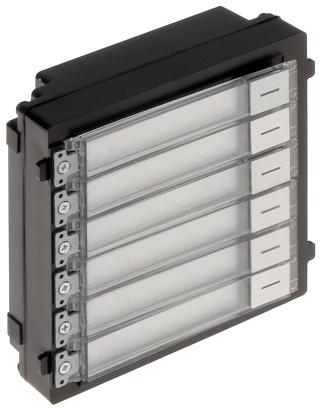 De module DS-KD-KK van Hikvision  met extra beldrukkers voegt 6 adressen toe waar naar gebeld kan worden. De module wordt gevoed via de camera module, welke zelf via PoE wordt gevoed.
