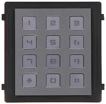A guia de código oferece a possibilidade de abrir a porta através de um código. O módulo é alimentado através do módulo da câmera, que é alimentado via PoE.