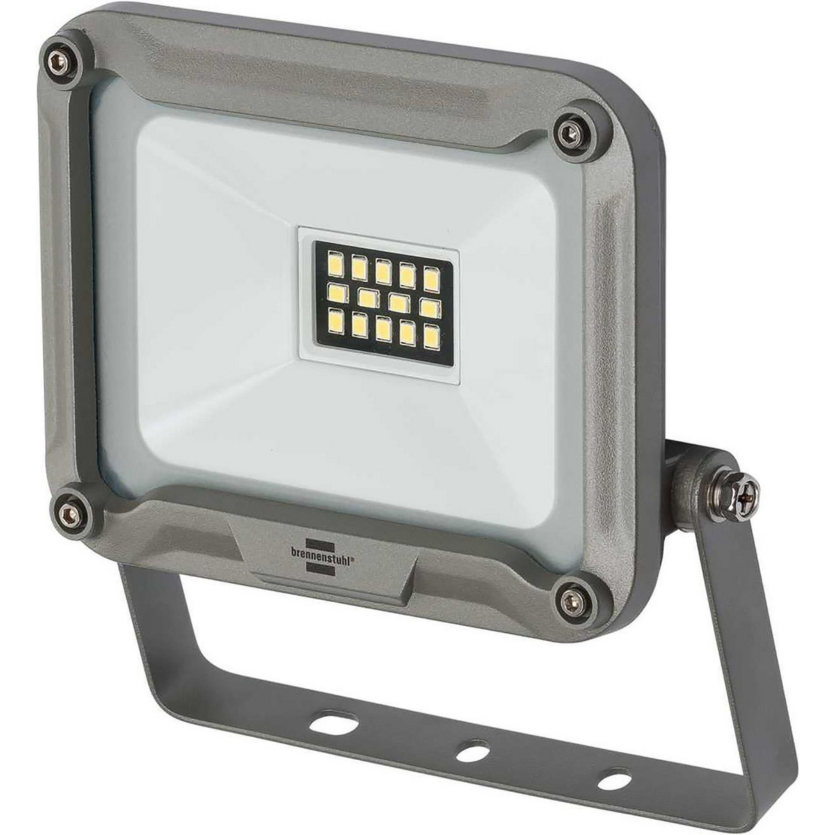 LED light with extra bright Everlight SMD LEDs. User-friendly assembly thanks to external, watertight connection terminal. With safety glass. Solid and modern aluminum housing. Adjustable mounting bracket for mounting. In colorful display package. This fi