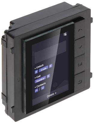El módulo Hikvision DS-KD-DIS está diseñado para funcionar con el puesto avanzado de videoportero DS-KD8003-IME1 o DS-KD8003-IME2. Con este módulo de pantalla práctico y profesional, que contiene una pantalla LCD de 3,5 pulgadas, se puede llamar a una est