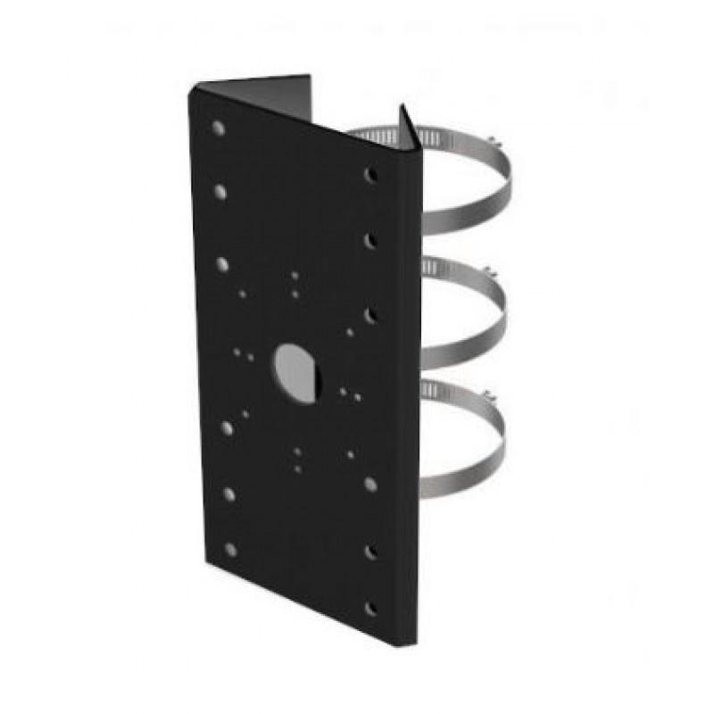 DS-1275ZJ-SUS Negro, soporte de montaje en poste negro con abrazaderas, para varios soportes de pared fijos y cámaras PTZ.