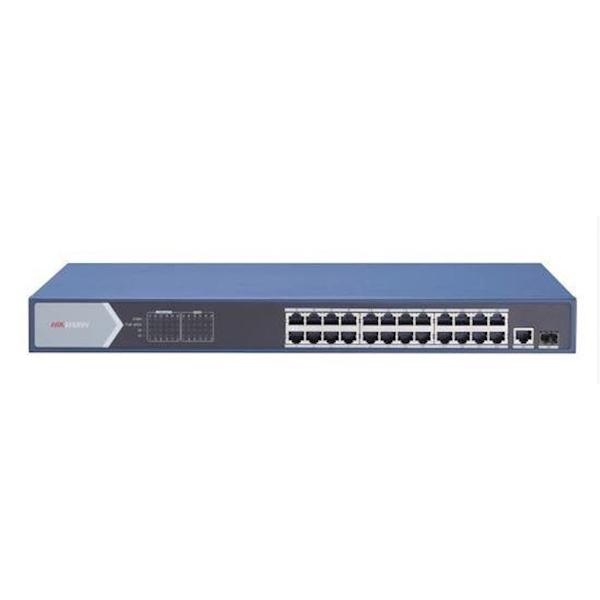 DE DS-3E0526P-E switche is een Layer 2 gigabit unmanaged PoE-switch, die 24 gigabit PoE-poorten en één gigabit RJ45-poort biedt alsmede 1 glasvezelpoort heeft. De switches bieden geavanceerde PoE-technologie en verbinden andere apparaten met hoge prestati