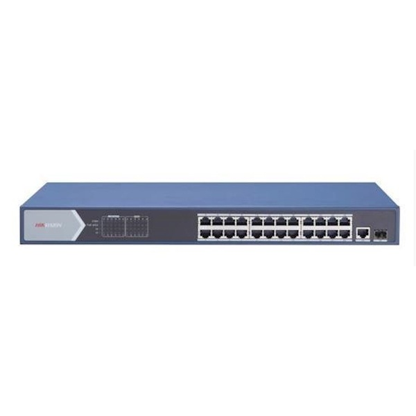 The DS-3E0526P-E switche is a Layer 2 gigabit unmanaged PoE switch, which offers 24 gigabit PoE ports and one gigabit RJ45 port as well as 1 fiber port. The switches offer advanced PoE technology and connect other devices with high performance. Meanwhile,