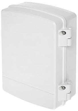Dahua PFA141 Powerbox senza fori, ideale per il montaggio di alimentatori, piccoli interruttori e Powerline in questa scatola esterna impermeabile. Entrata girevole nella parte inferiore per vari tipi di cavi. Può anche essere combinato con la staffa per