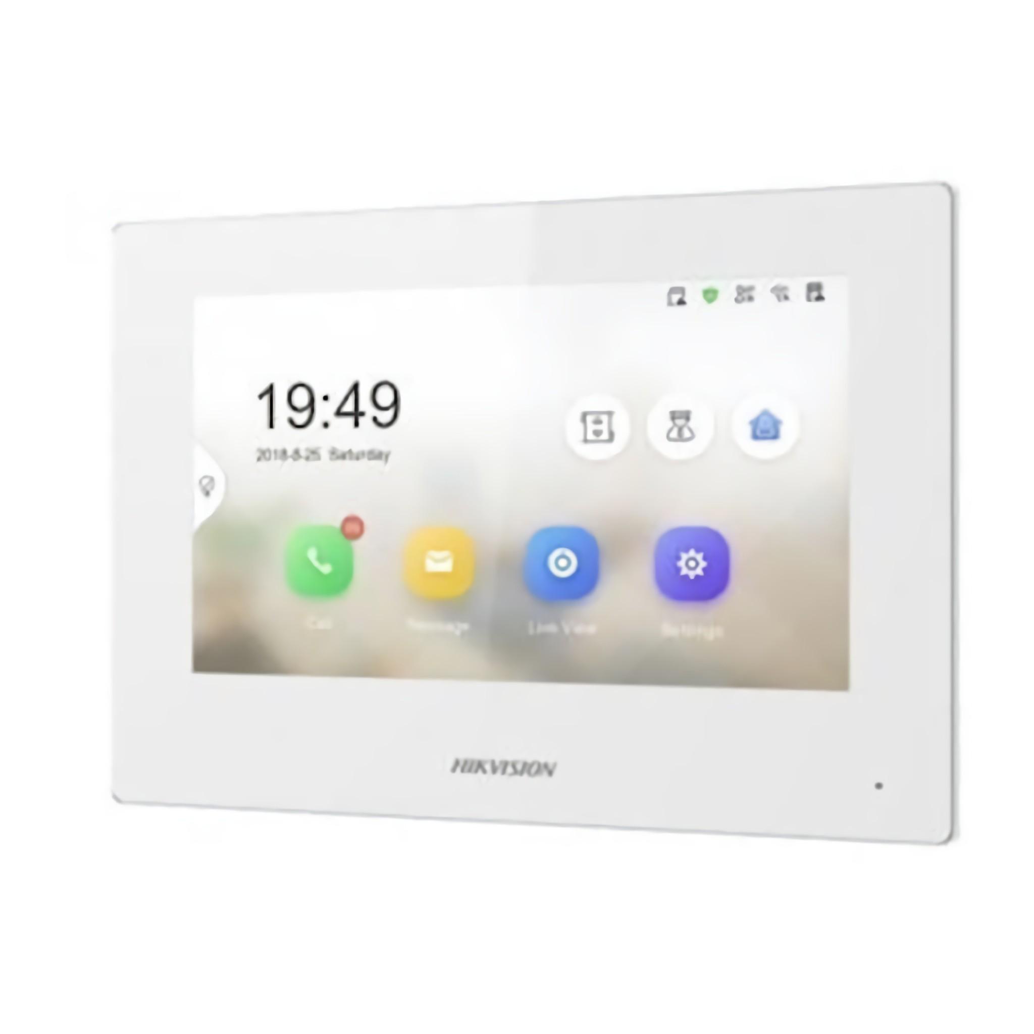 Die Innenstation DS-KH6320-WTE2 White ist speziell für die neue 2-Draht-Intercom-Lösung von Hikvision vorgesehen. Ein neues Design mit einem kapazitiven 7-Zoll-Touchpanel mit integriertem Mikrofon und Lautsprecher.