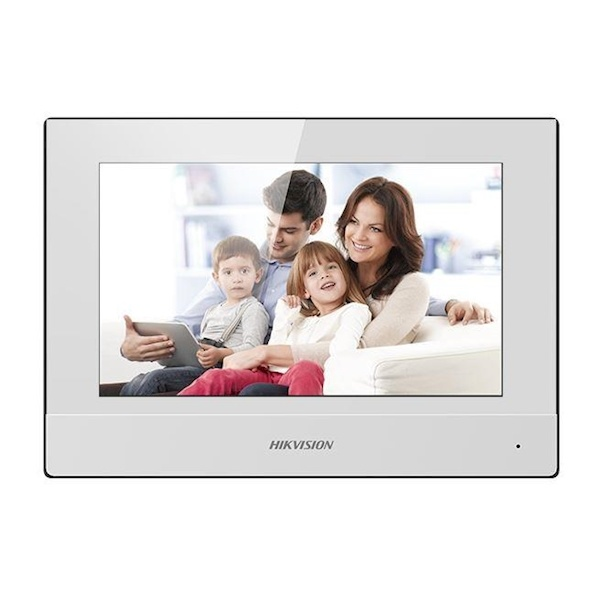 """The Hikvision DS-KH6320-WTE White is a beautifully designed 7 """"indoor station for the Hikvision video intercom system. You can operate your intercom and view your IP cameras via the clear touchscreen."""
