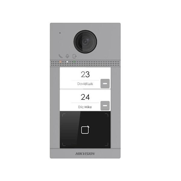 DS-KV8213-WME1, 2 botões de campainha, iluminação IR, PoE / 12v, leitor de cartão Mifare