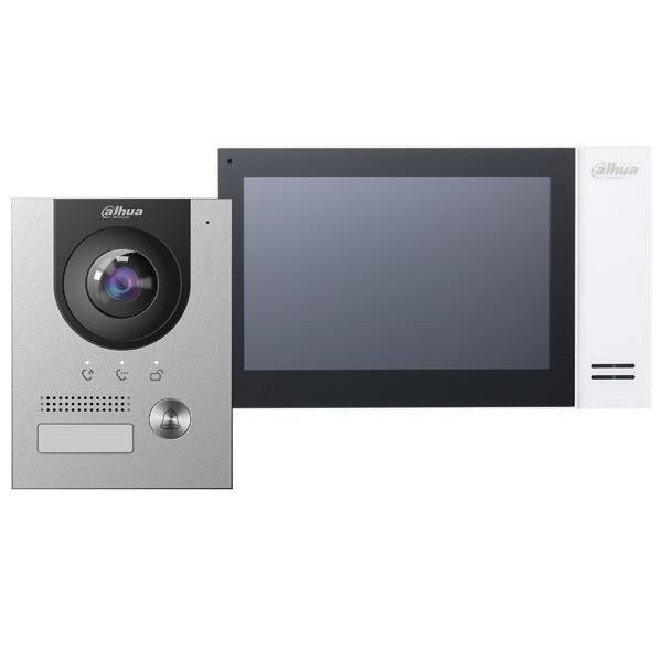 "Contents Dahua intercom kit: Dahua VTO2202F-P outpost Dahua VTH2421FW-P 7 ""indoor unit Dahua PFS3005-4ET-60 PoE-switch Dahua VTM115 Surface-mounted housing"