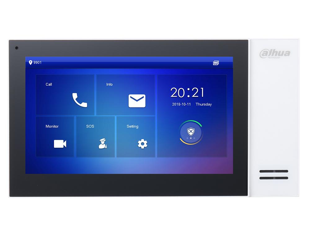 Dahua-Monitor für Video-Gegensprechanlage, Netzwerkverbindung verkabelt, 1024 x 600, SIP-Protokoll, PoE, weiße Version