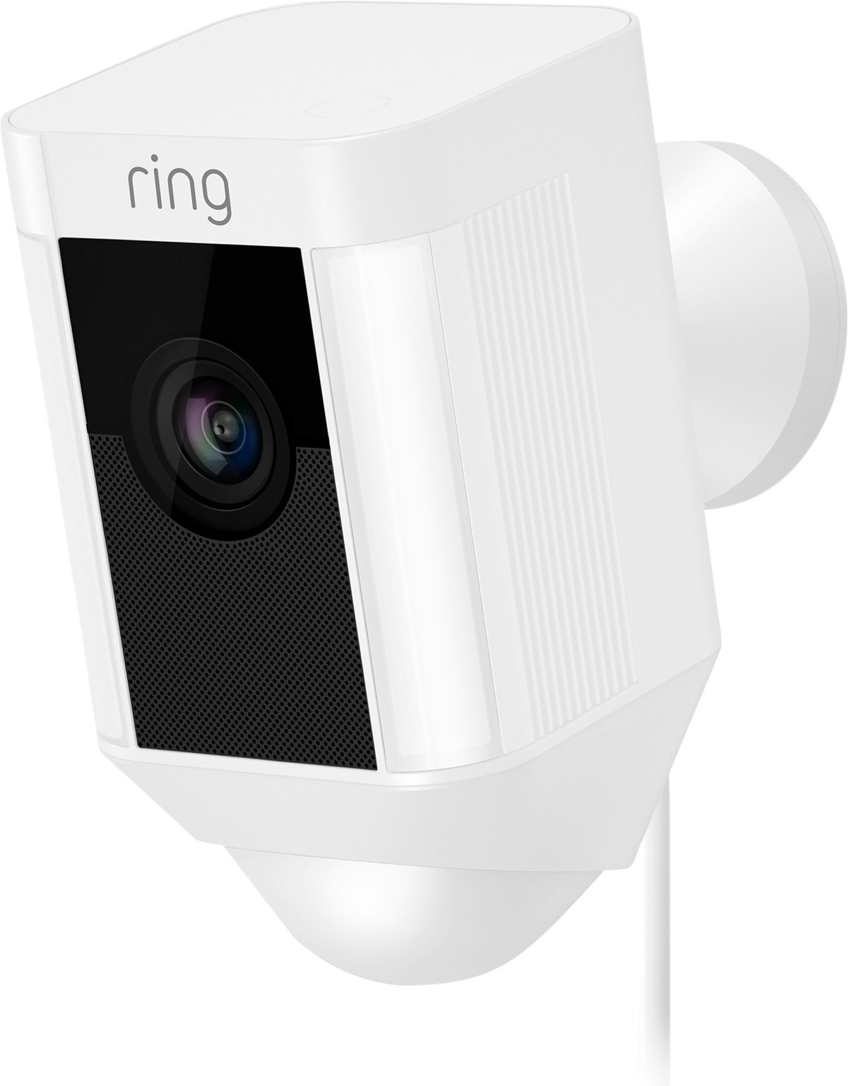 The Ring Spotlight Cam Wired White is an IP camera that monitors your backyard or driveway day and night. You install this camera easily with the clear app from Ring. The camera detects movements and automatically starts recording video and sound. The cam
