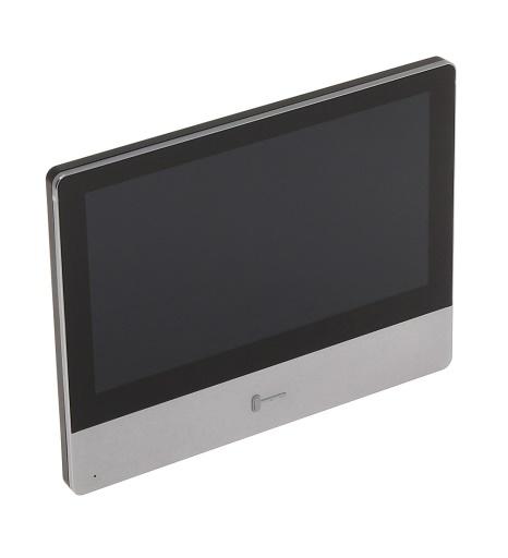 De Hikvision DS-KH8350-WTE1 is een fraai vormgegeven binnenpost voor het Hikvision video-intercomsysteem. Via het heldere touchscreen kunt u uw intercom bedienen en uw IP camera's bekijken.