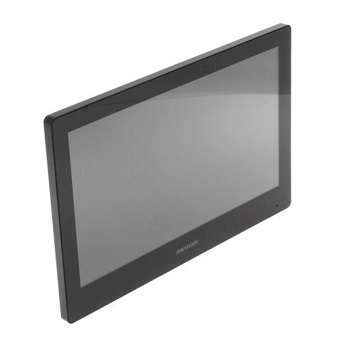 De Hikvision DS-KH8520-WTE1 is een fraai vormgegeven binnenpost voor het Hikvision video-intercomsysteem. Via het heldere touchscreen kunt u uw intercom bedienen en uw IP camera's bekijken.