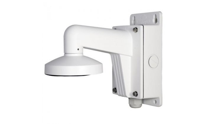 The Hikvision DS-1273ZJ-135B wall mount with aluminum mounting box is suitable for indoor or outdoor wall mounting.