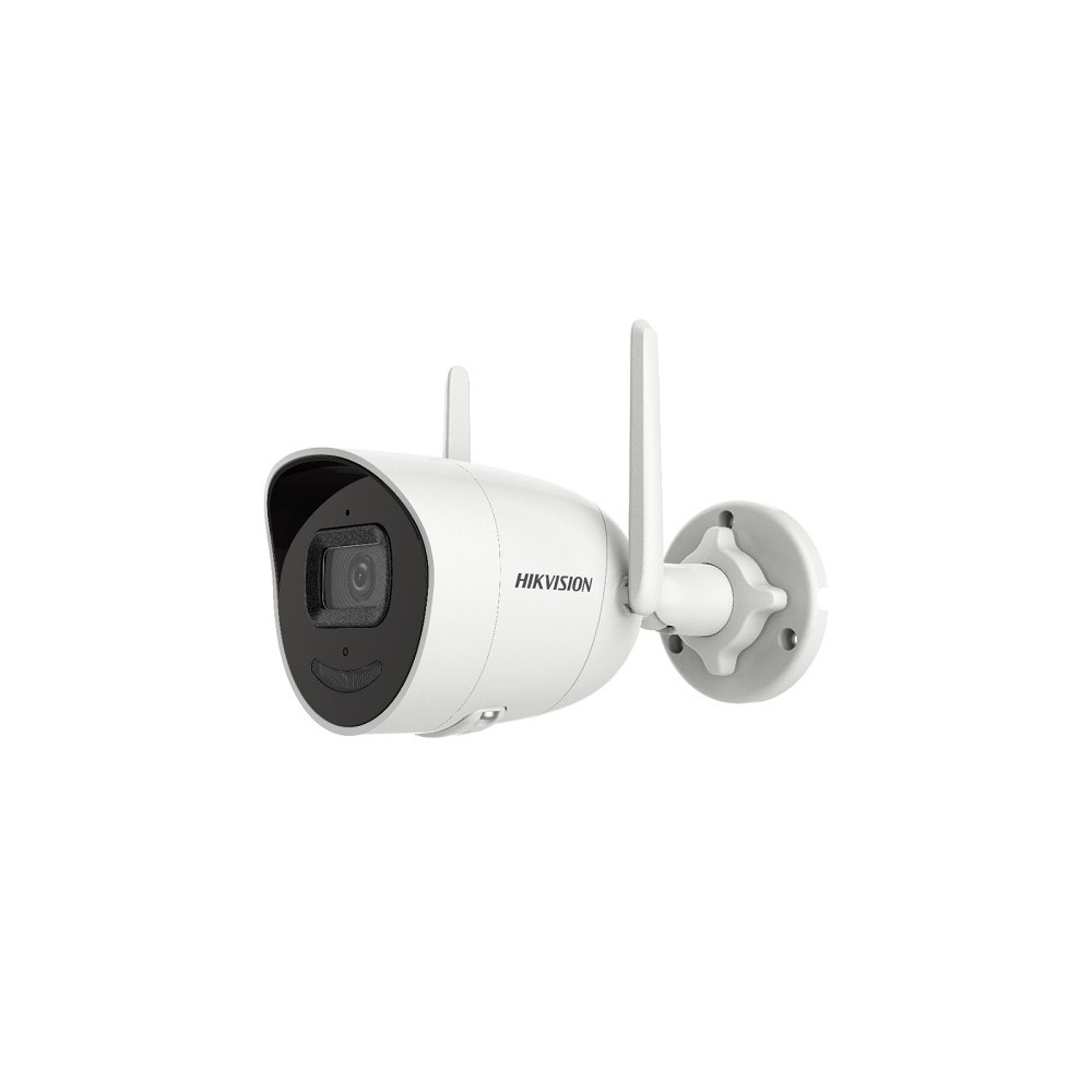 """Hikvision's bullet outdoor network camera DS-2CV2041G2-IDW features 1 / 2.7 """"Progressive Scan 4MP CMOS and has built-in dual antenna 2.4G Wi-Fi, up to 120m range in open area. This IP camera is equipped with microphone and speaker, supports two-way audio"""
