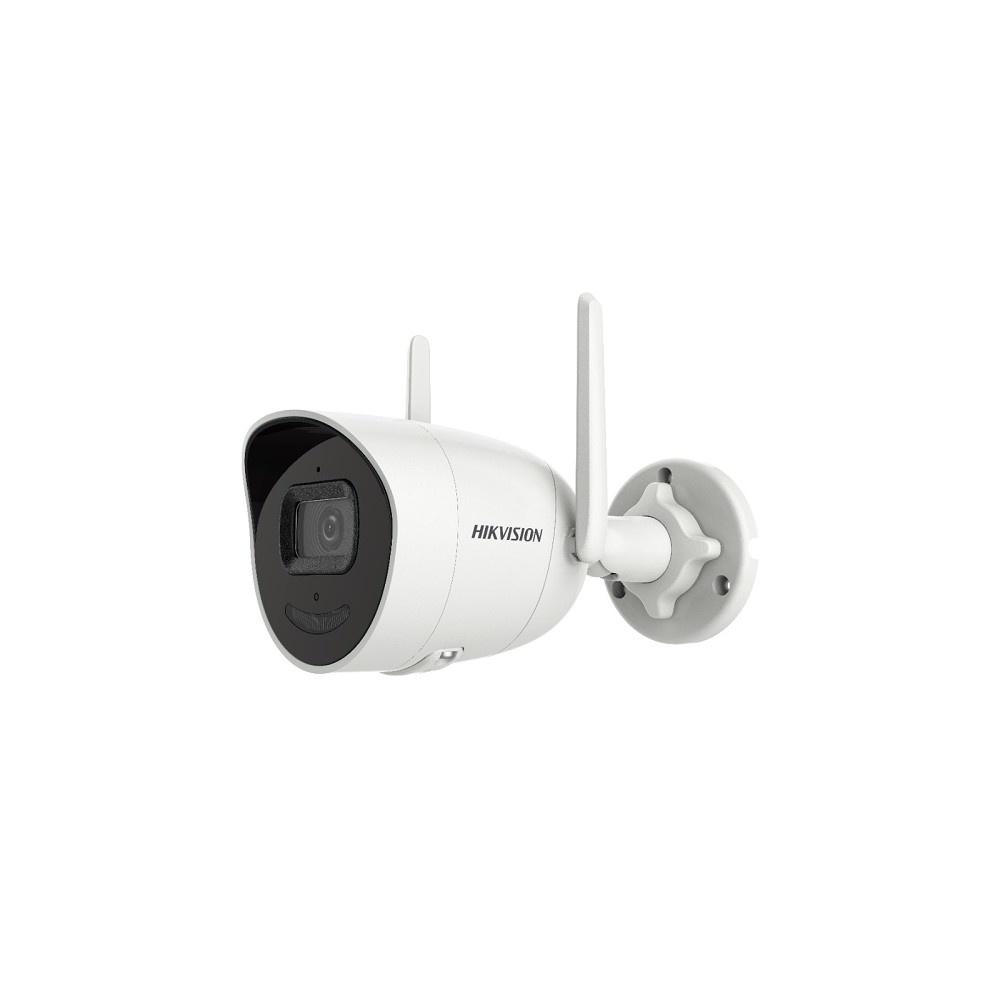 """De Hikvision's bullet netwerkcamera voor buitenshuis DS-2CV2041G2-IDW is voorzien van 1 / 2.7 """"Progressive Scan 4MP CMOS en heeft een ingebouwde dubbele antenne 2.4G Wi-Fi, tot 120 m bereik in open ruimte. Deze IP-camera is uitgerust met microfoon en luid"""