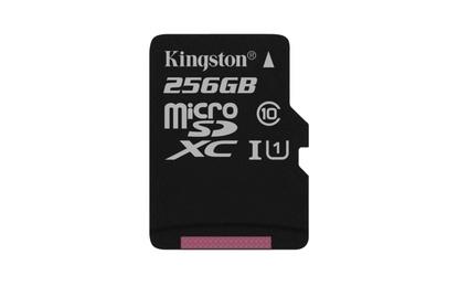 Cartão Micro SD Kingston de 256 GB. Este cartão de memória possui uma grande capacidade e atende aos requisitos de especificação de associação SD que a classe 10 deve atender. O cartão pode ser perfeitamente usado para armazenar imagens da câmera Hikvisio