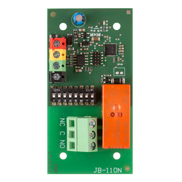 The product is a system device for the Jablotron Midway Pro and Essex Pro. It provides a switching contact for the output power relay. For example, it can be used to control lights, fans, etc. The relay communicates via the bus and is powered by the contr