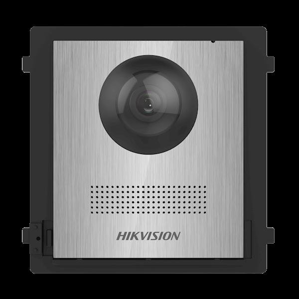 DS-KD8003-IME1 / NS, interphone modulaire, module caméra en acier inoxydable sans poussoir de cloche peut être combiné avec le module poussoir de cloche en acier inoxydable DS-KD-KK / S et un châssis en acier inoxydable en saillie ou encastré.
